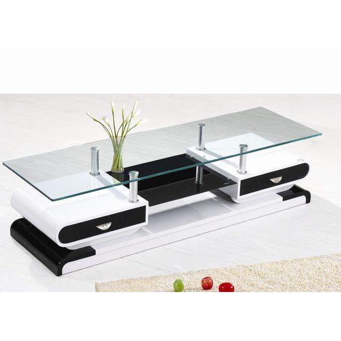impressionnant meuble tele noir et blanc - Meuble Tv Blanc Laque Verre