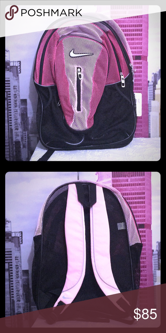 26285c1b40e Nike XL Mesh backpack gym bag book pack unisex new Beautiful black with pink.  From a smoke free and pets free household. Color may looks little different  ...