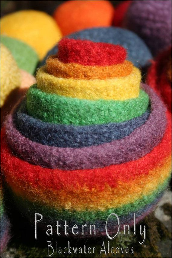 Felted Rainbow Nesting Stacking Bowls Crochet Pattern Only