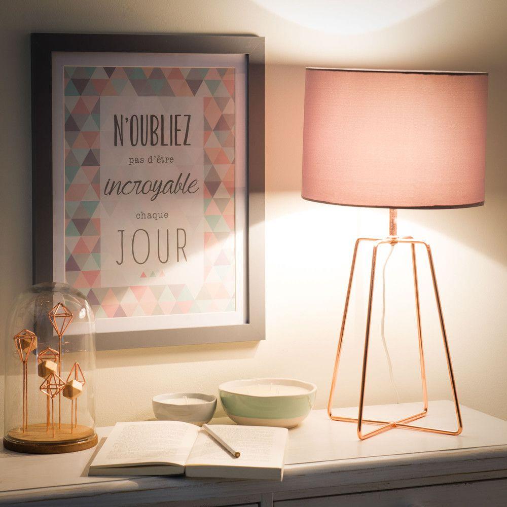 Lampe aus Metall mit Lampenschirm aus grauem Stoff, H 49 cm ...