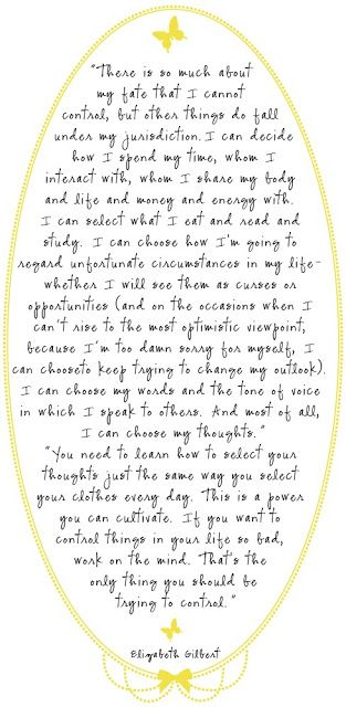 The choices in life...Elizabeth Gilbert