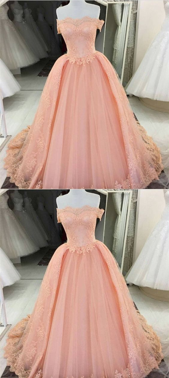 Off The Shoulder Tulle Prom Dresses Lace Appliques Ball Gowns ...
