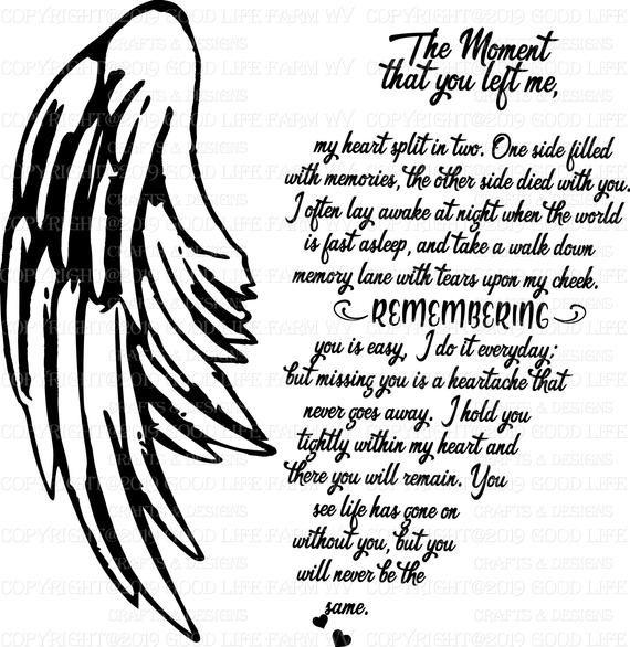 The Moment you left me-Poem-Memorial, SVG, png, jp