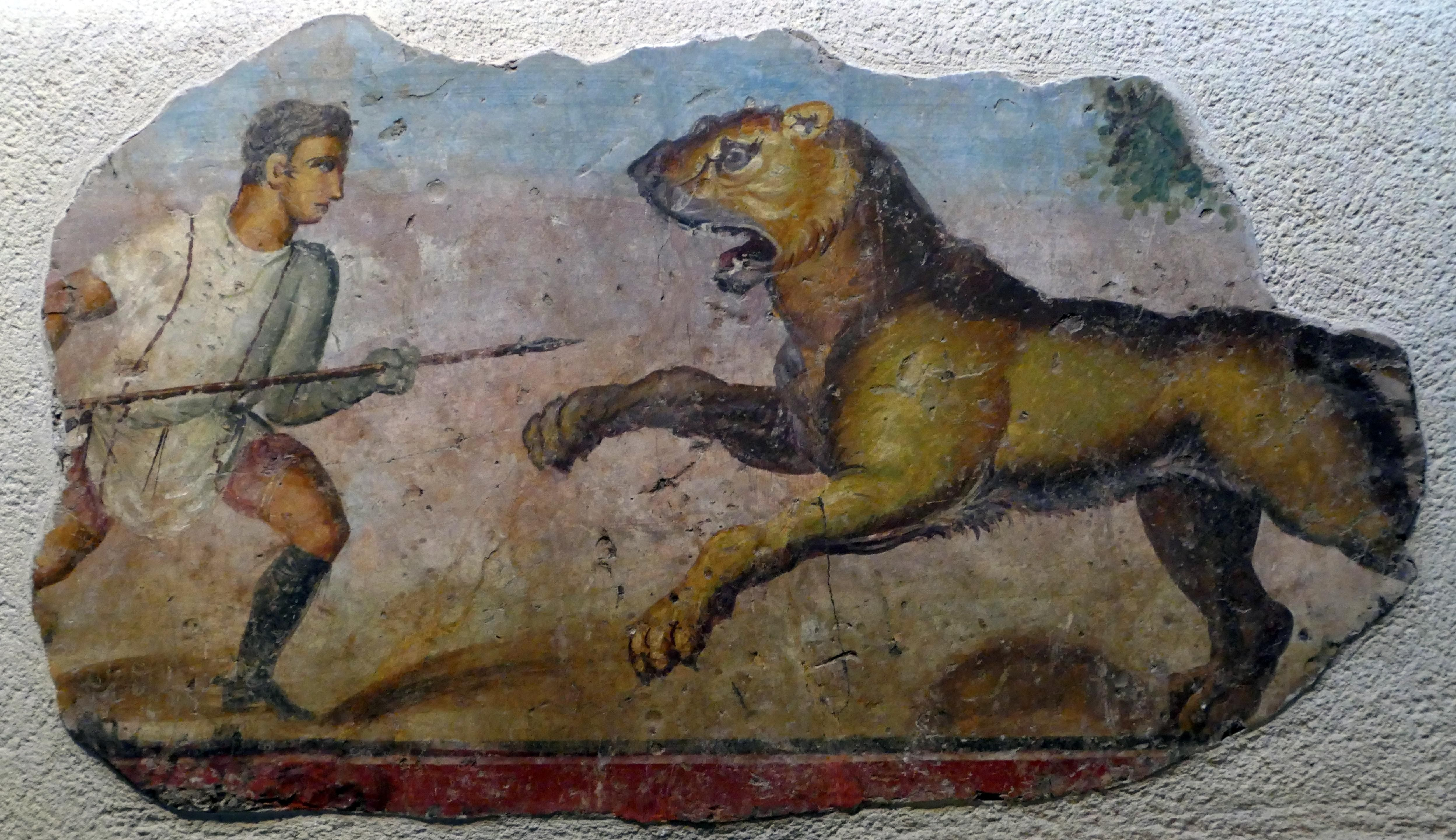 mural of a venator or bestiarius fighting a lion which decorated the balustrade of the amphitheatre in the Roman city of Emerita Augusta (modern Mérida Spain). 103cm x 64cm. AD 76-100. National Museum of Roman Art (Mérida Spain). [OC] [4992x2880]