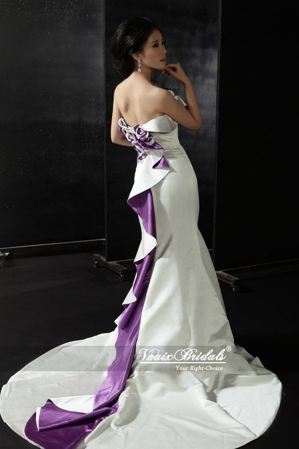 VN006 Real Sample 2014 Strapless Satin Mermaid Purple And White