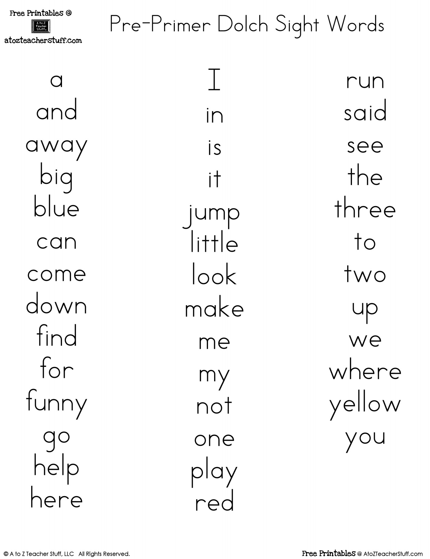 Pre Primer Dolch Sight Words Free Printables