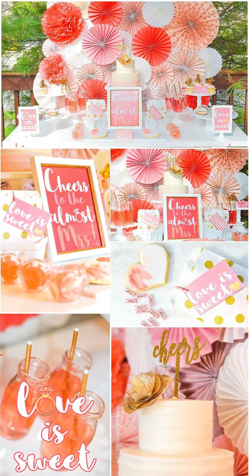 budget bridal shower using coral and gold via party box design