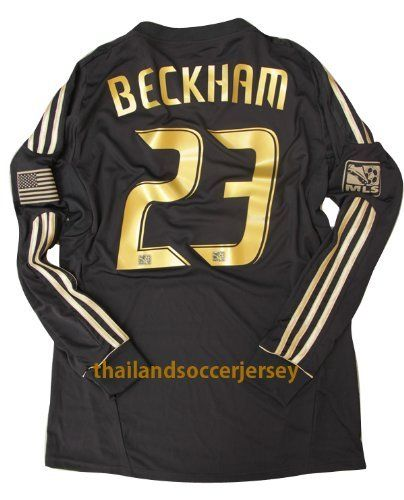 watch 196a4 15e8a New 12-13 LS Long Sleeve LA Galaxy Black Jersey Beckham #23 ...