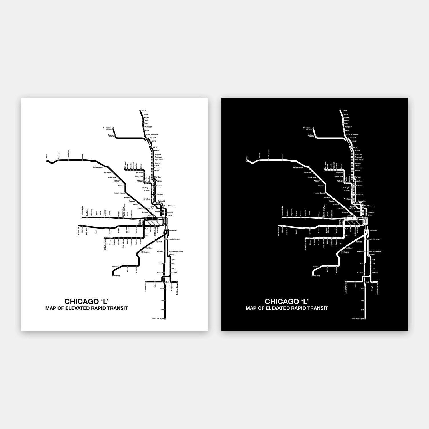 INSTANT DOWNLOAD Chicago CTA Map Chicago By DesignOutfitters - Chicago map download