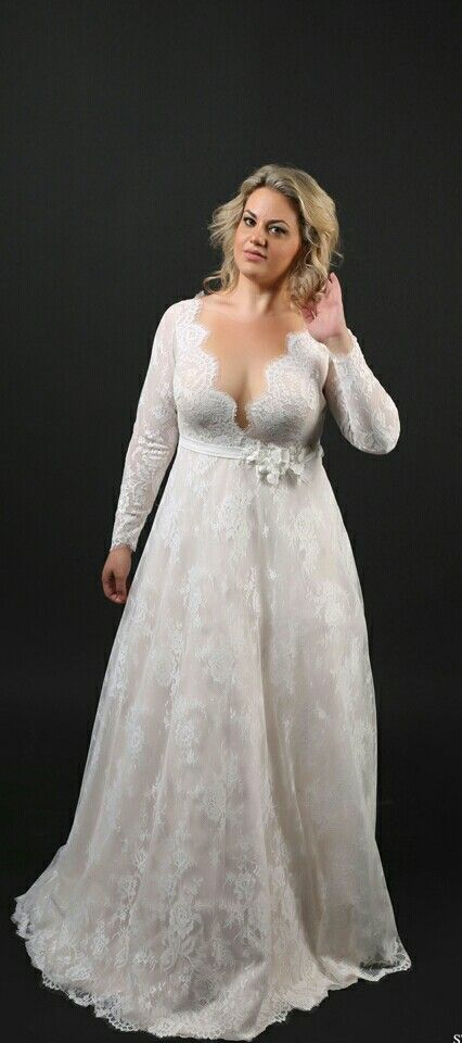 Plus Size Lace Deep V Neck Long Sleeves A Line Wedding Gown Sophia