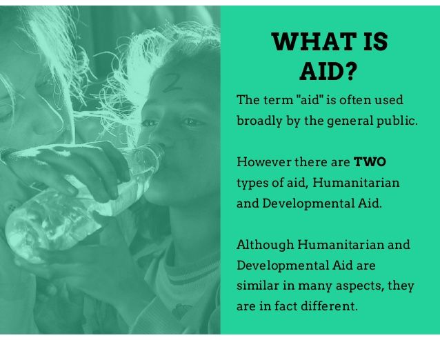 """WHAT IS AID? The term """"aid"""" is often used broadly by the general public. However there are TWO types of aid, Humanitarian ... #humanitarian #foreignaid #humanrights -Corey Engelen"""