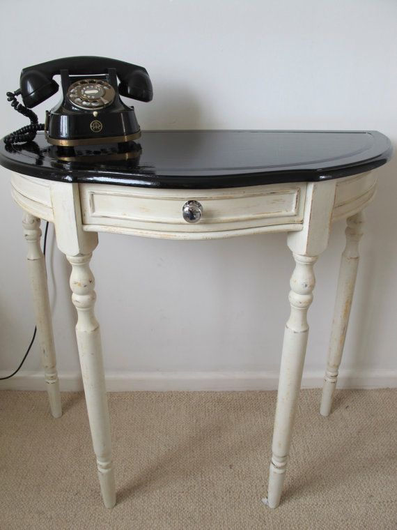 retro kitsch funky shabby chic side table hall table console table annie sloan chalk paint upcycled on etsy 143 29
