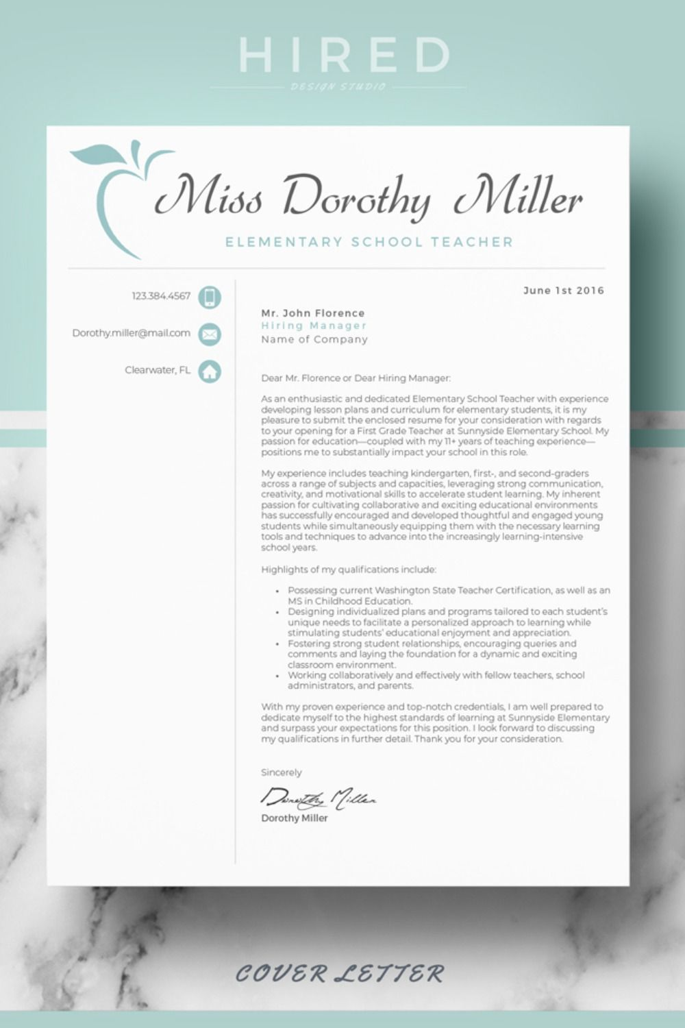 R46 MISS DOROTHY MILLER Teacher Resume Template for