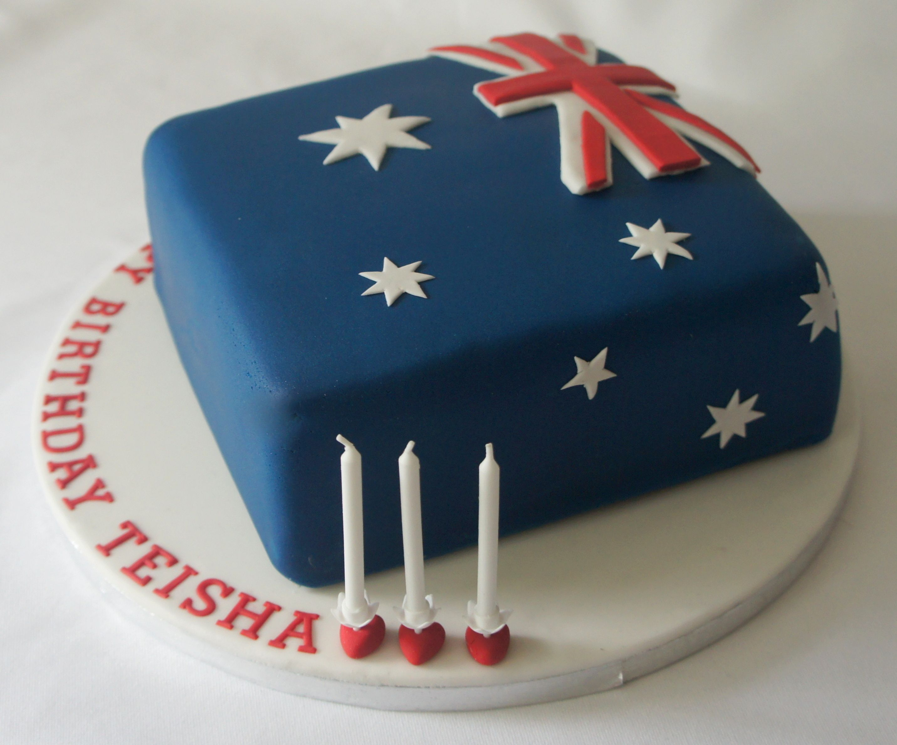 American With British Flag Birthday Cake