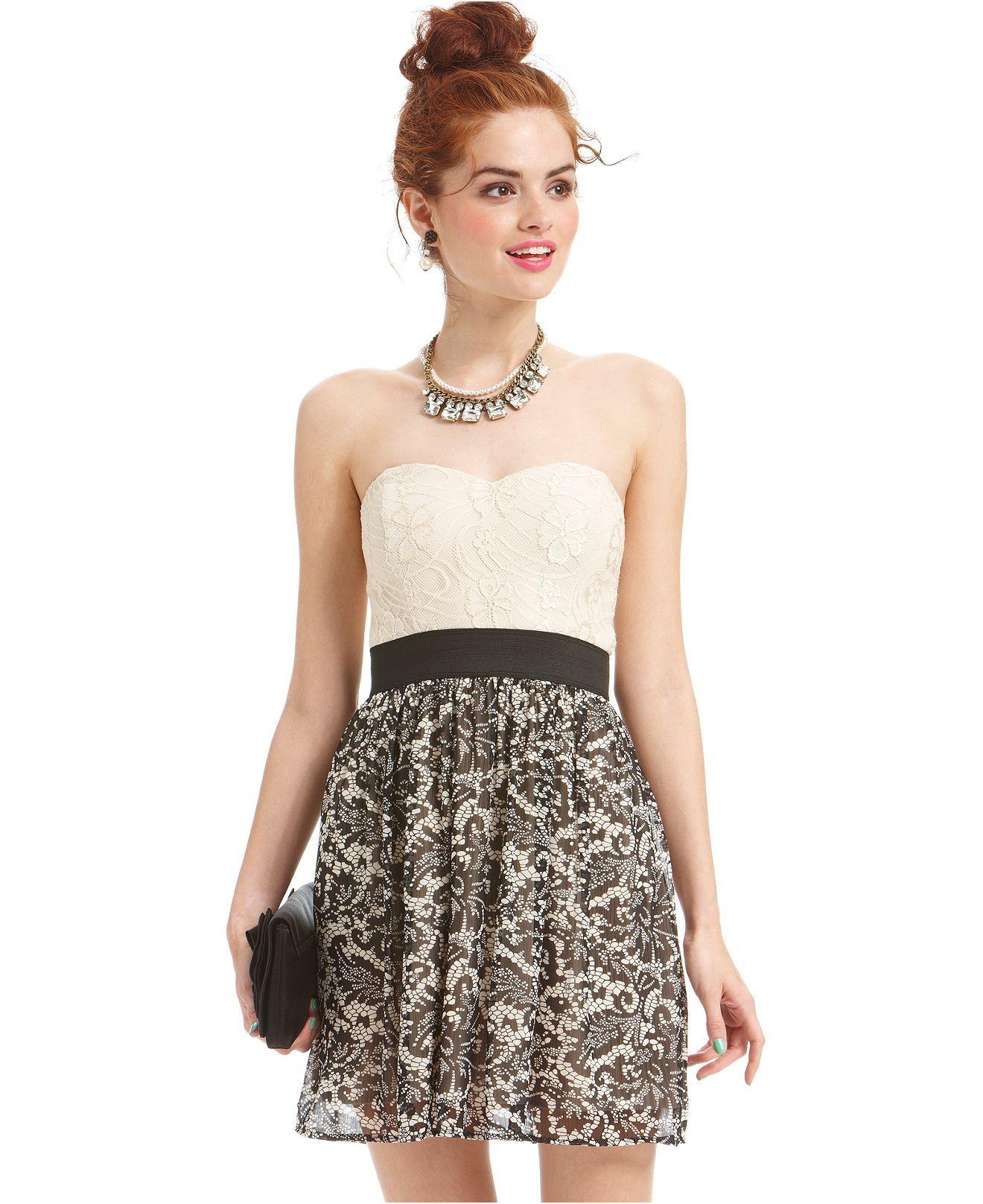 098a9961421af Trixxi Juniors Dress, Strapless Sweetheart Lace - Juniors Dresses - Macy's  Dance Dresses, Cute