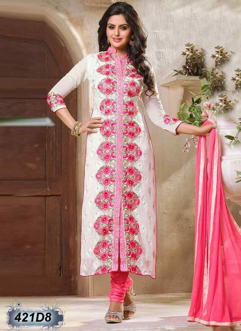 Splendiferous White Coloured Georgette Semi stitched Salwar Suit