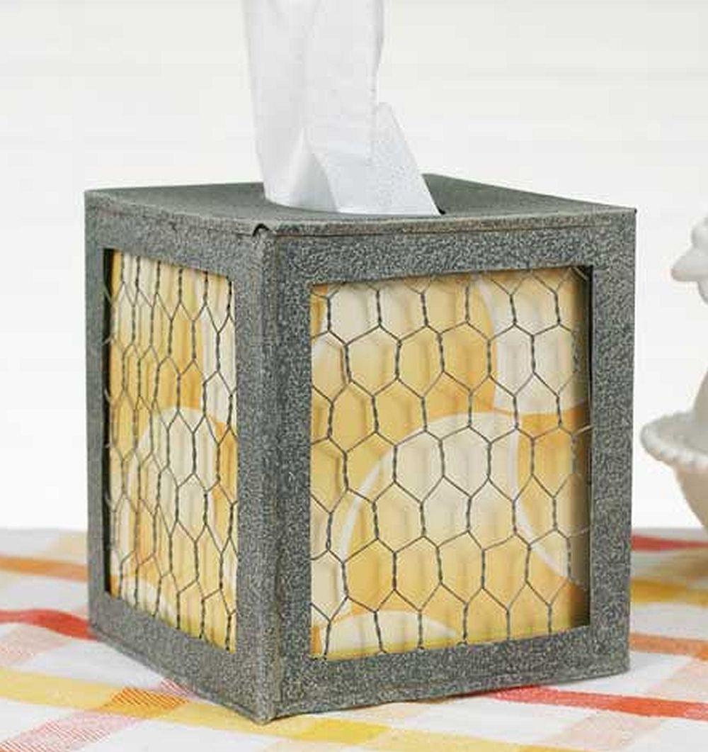 Rustic Tissue Holder Square Chicken Wire   Home Decor Ideas ...