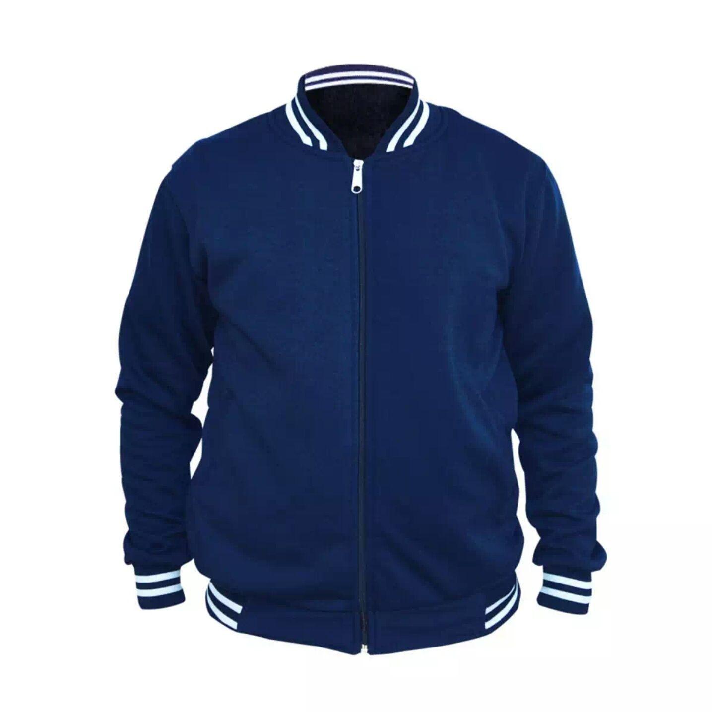 Jaket Sweater Baseball Varsity Polos Navy Cocok Buat Anak Muda Hoodie Zipper Laki