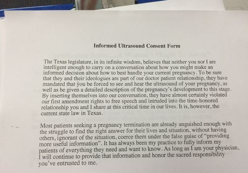 Texas Doctor Stands Up for Women With This Abortion Consent Form