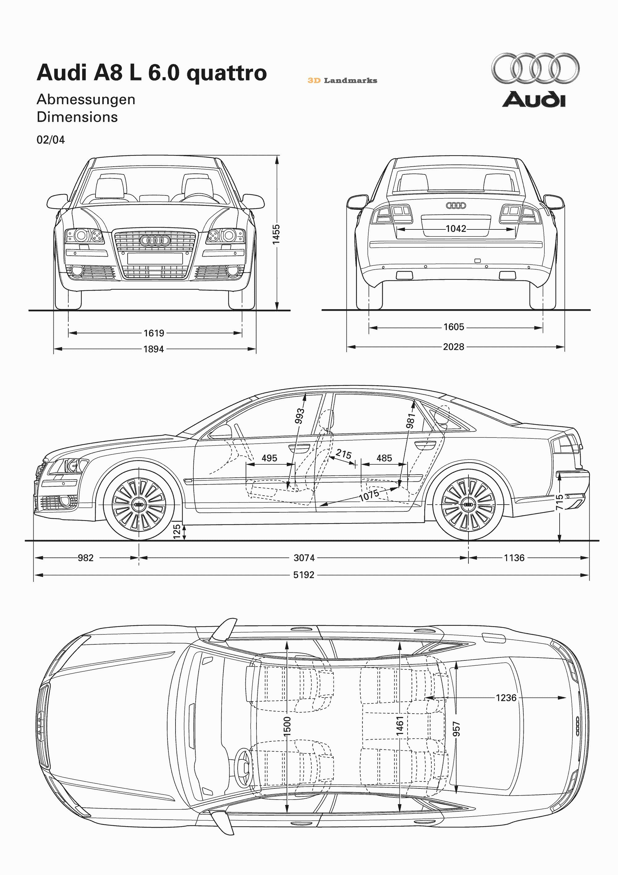 automobile blueprints | car blueprints audi audi a8 2004 ...