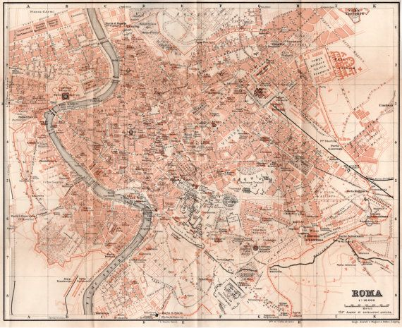 1903 Map of Rome Map of Italy Antique Map Vintage Lithograph