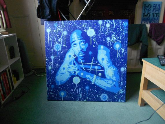 Tupac Painting Large Canvascustomhip Hop2 By