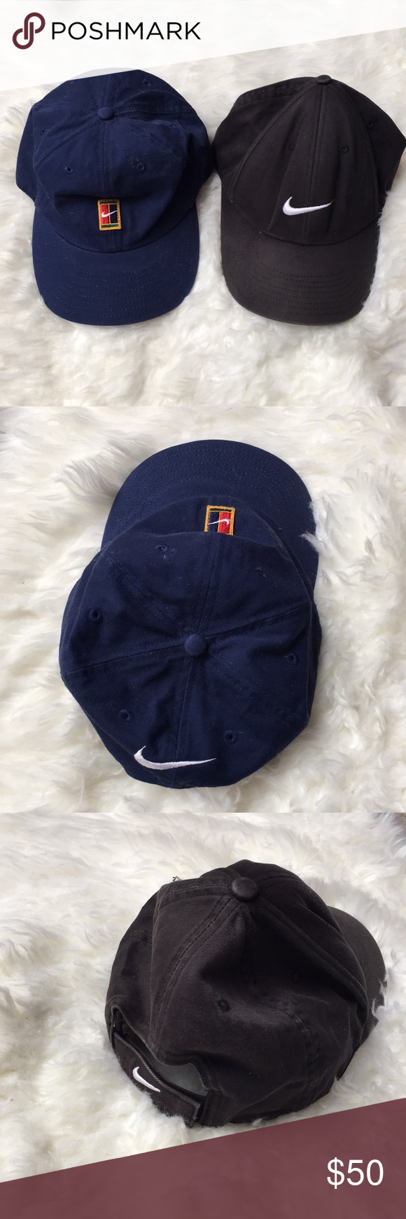bb97b0bb2e1 Vintage NIKE Dad hats Vintage Nike hats Navy and black Nike Accessories Hats
