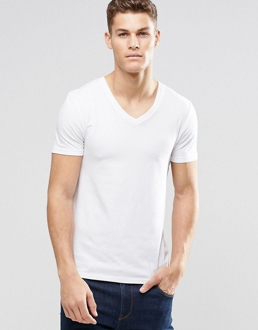 4000284f DESIGN muscle fit t-shirt with v neck and stretch | Products | Asos ...