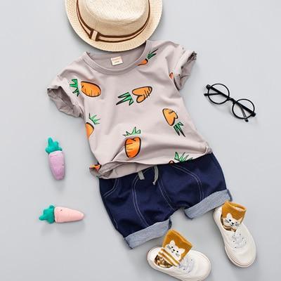 Kid Boy Girl Summer Clothing Set 1 2 3 4 Years Baby Casual Cute Radish Print Shirt Clothes Cute Cartoon School Bag Boys Suit Fashionable Baby Clothes Baby Boy Clothes Summer Boy Outfits