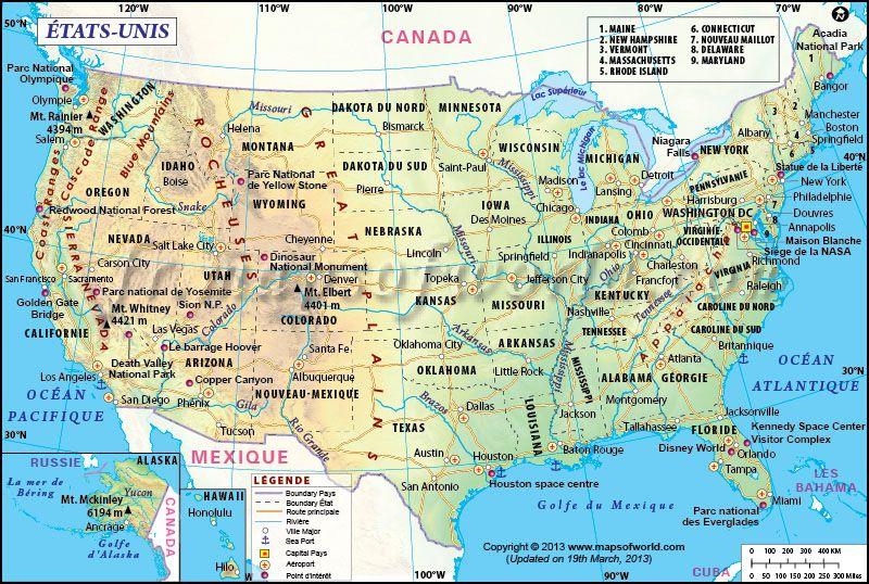 Carte Etats Unis Explorez L Amerique Par Cette Carte Instructive