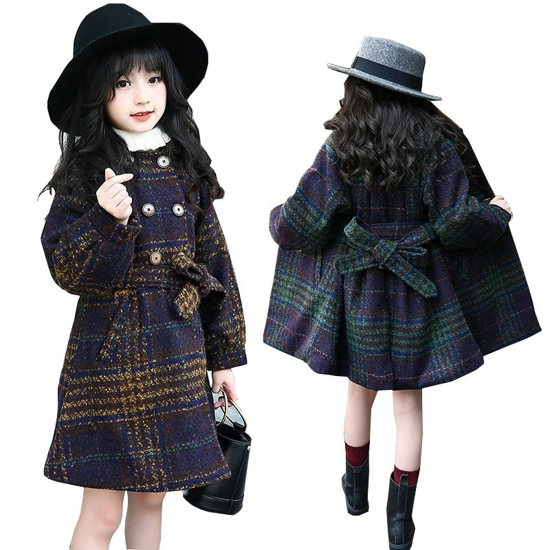 a9f420d3aa57 Kids Jacket for Girls Winter Coat Thick Warm Plaid Baby Girls Wool ...