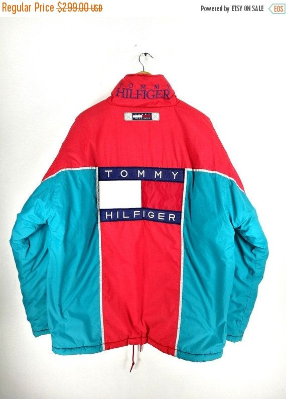 Tommy Hilfiger Bomber Jacket Large Vintage 90s Tommy Jeans Big Logo