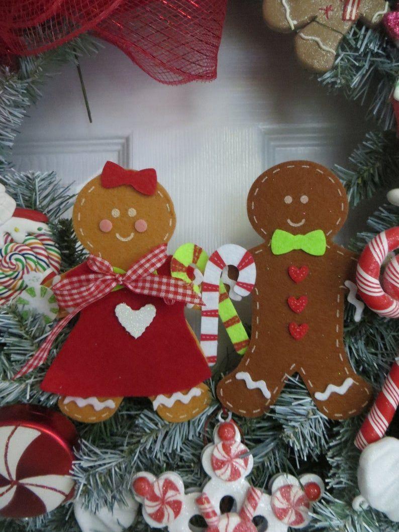 Gingerbread Wreath Housecandyland Decorchristmas Wreathdoor Etsy Christmas Signs Wood Gingerbread Decorations Material Wreaths