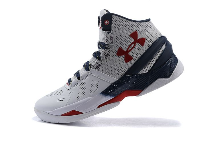 4466bf66b8b3 Men s Under Armour UA Stephen Curry Two Signature Mid Basketball Shoes White  Navy Red