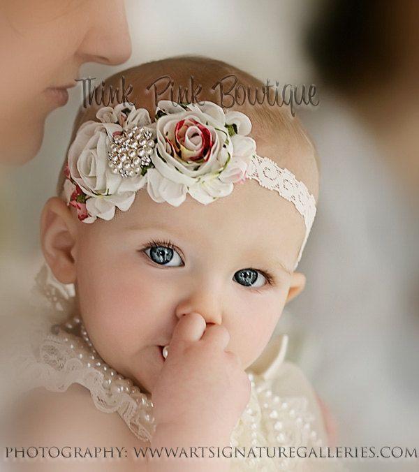 BABY HEADBAND GIRL ADULT SATIN PEARL FLOWER THIN ELASTIC CHRISTENING FLOWERGIRL
