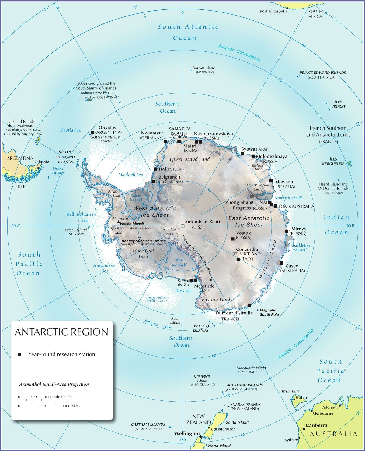 Physical Map of Antarctica - Nations Online Project | travel the ...