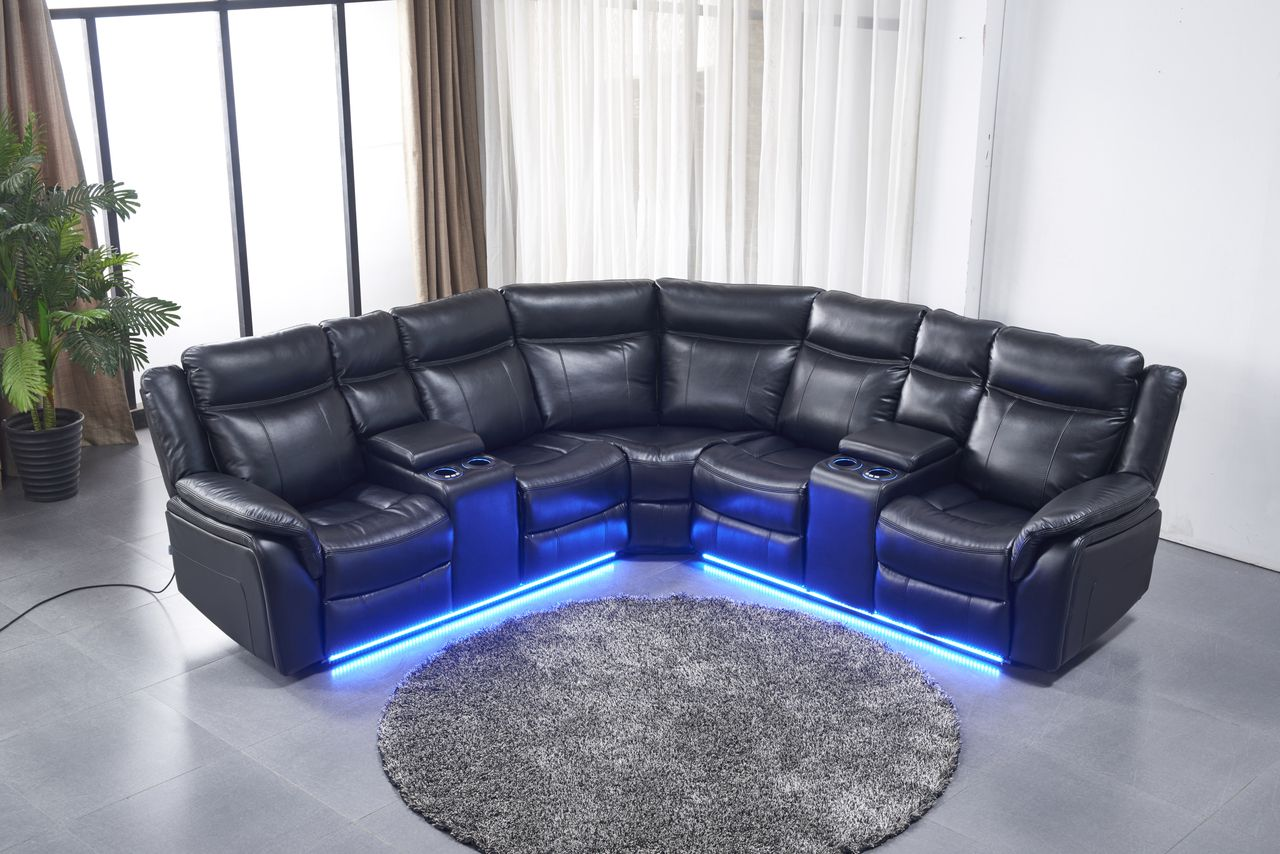 Generation Trade Zenith Black Leather Reclining Sectional Savvy