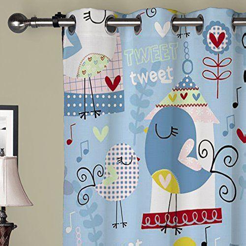 Super cute nursery curtains. I need these! Little birds