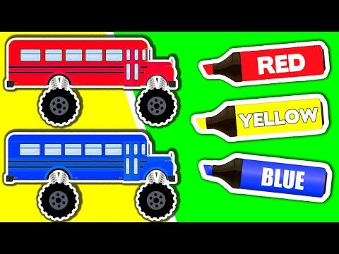 Learn Colors & Vehicles: Monster Truck School Buses ...