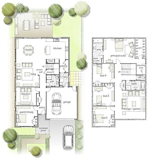 Two story 4 bedroom 1 study guest 2 living rooms love for Two story guest house plans