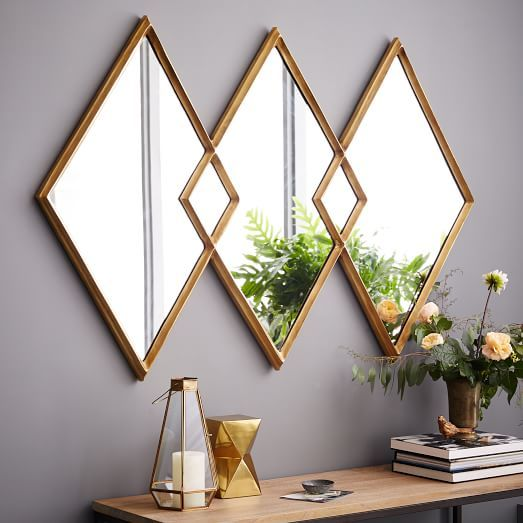 "Overlapping Diamonds Mirror | west elm. $399; 60""w x 40""h. Guest Room over dresser* For ensuite"