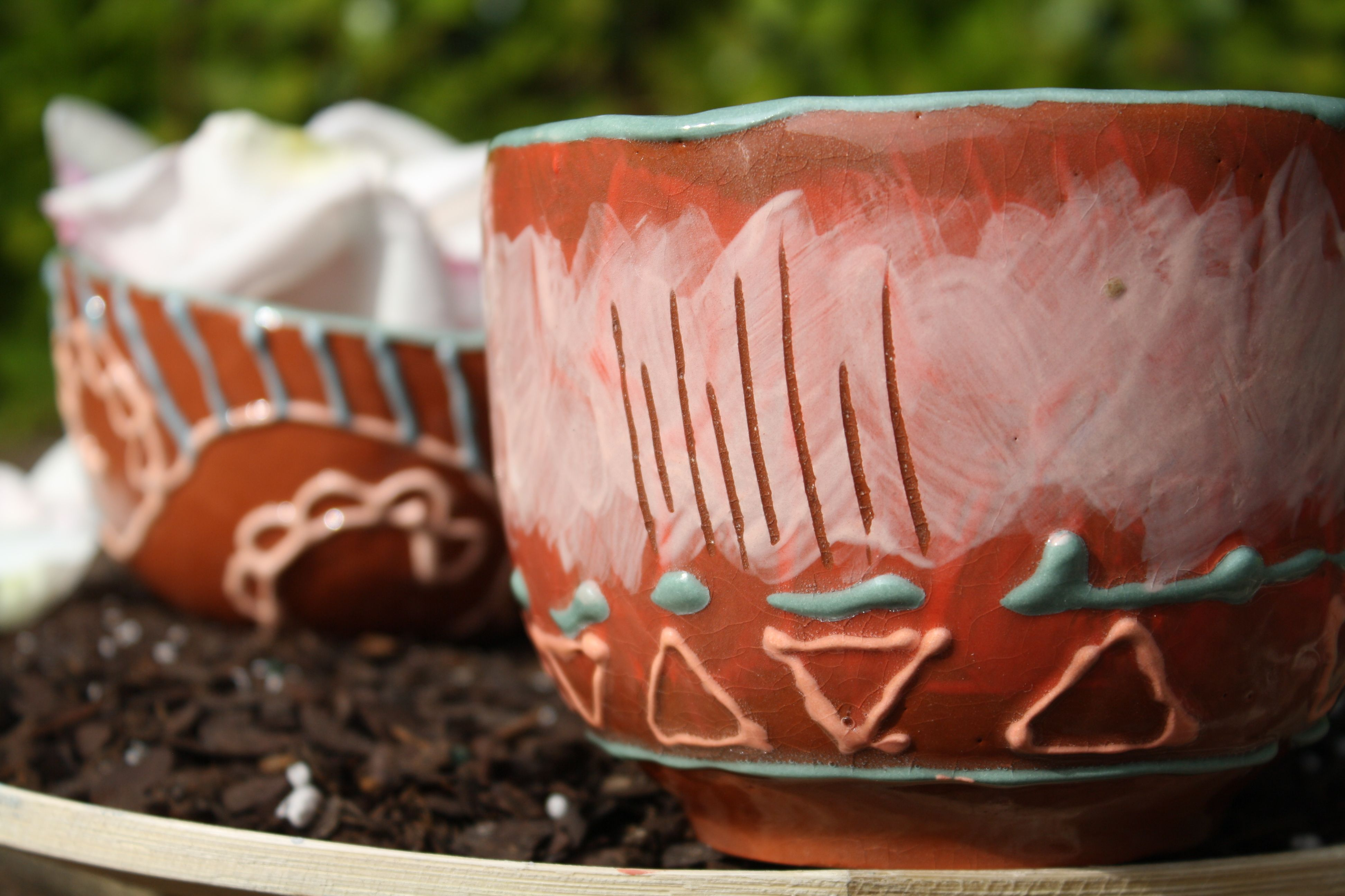 Aztec pink tribal bowl #triangles #teal