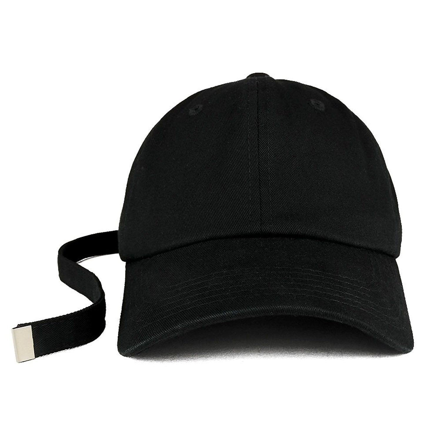 a5db1f6a6c7 Long Tail Strap Unstructured Adjustable Dad Hat - Black ...