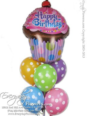 Poka Dot Balloons With A Happy Birthday Cup Cake Mylar Balloon By Everyday Flowers