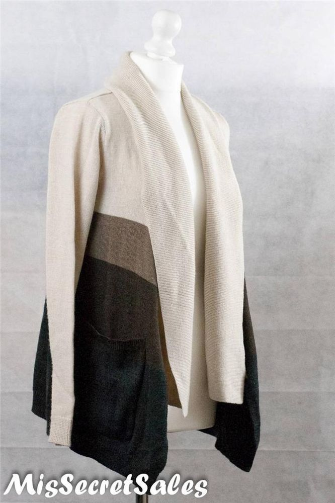 LADIES TAHARI MERINO WOOL WATERFALL CARDIGAN IN BEIGE BROWN SZ 8 ...