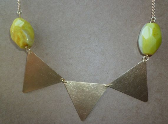 Lemon agate and brass triangle statement necklace $30