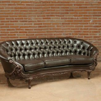 Victorian Brown Bonded Leather Tufted Sofa