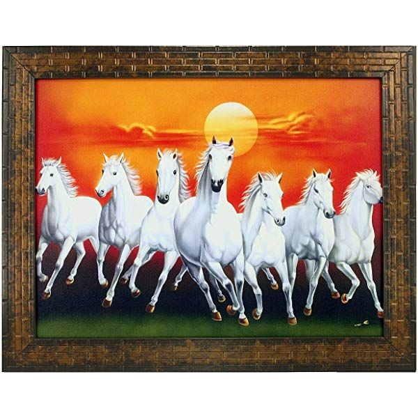 Mad Masters 7 Running Horses Vastu Painting Uv Textured Print Amazon In Home Kitchen In 2020 With Images Painting Running Horses Wild Horses Running
