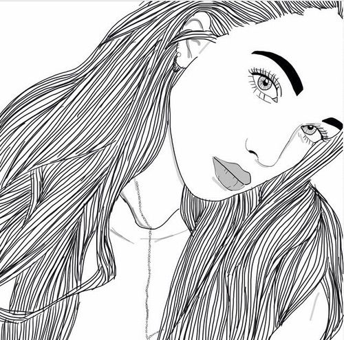 Image via We Heart It #art #blackandwhite #draw #drawing #girl #hairs #outlines #overlay