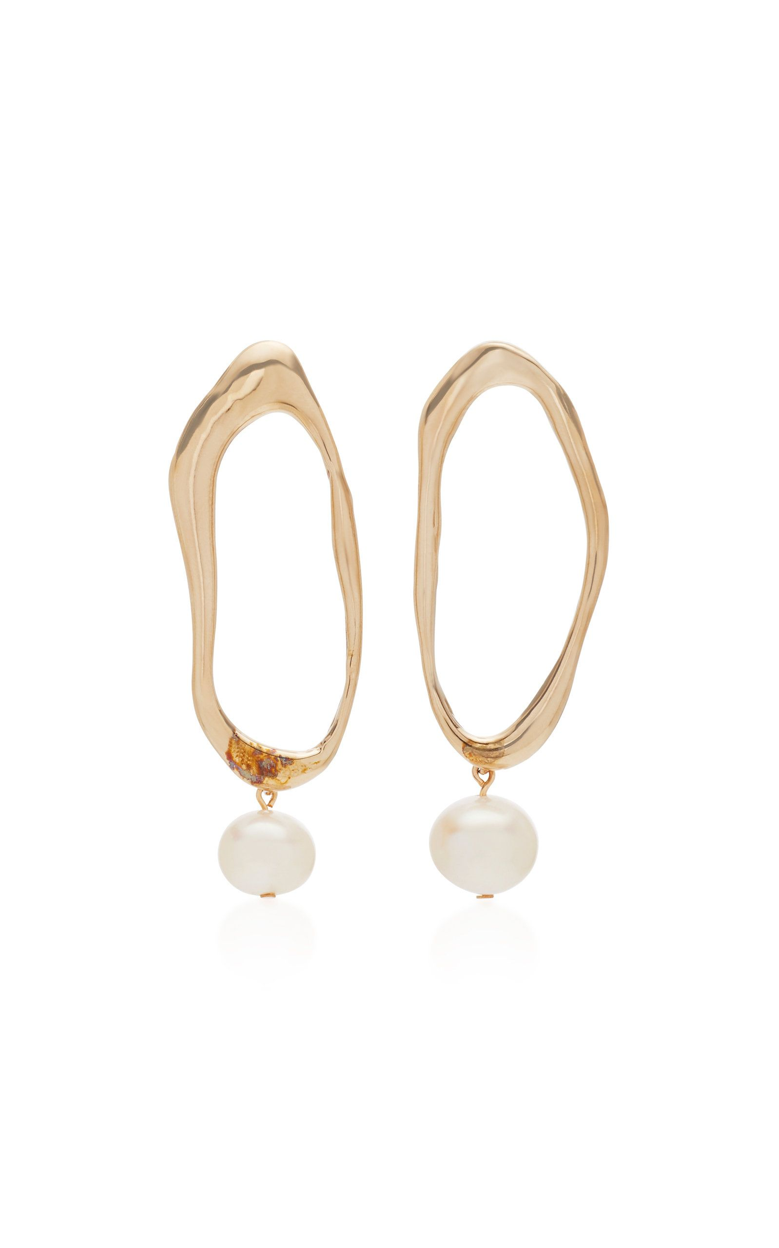 Pearl and Bronze Drop Earrings by MODERN WEAVING Now Available on Moda Operandi